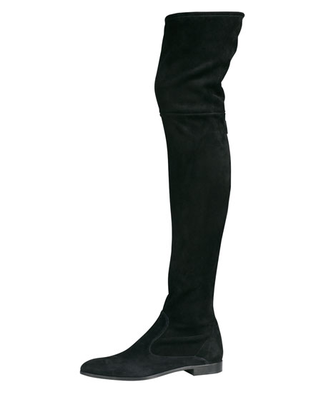 prada suede flat thigh high boot black