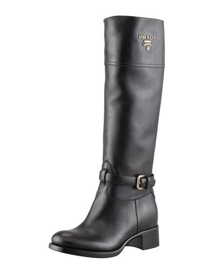 Tall Logo Riding Boot, Black