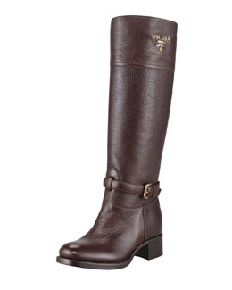 Prada Tall Logo Riding Boot, Brown