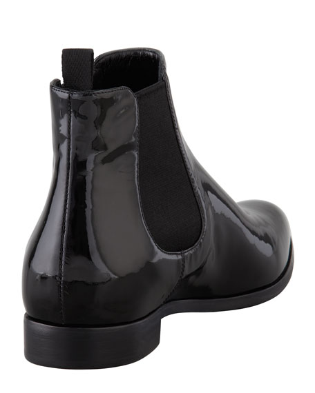 Patent Point-Toe Ankle Boot, Black