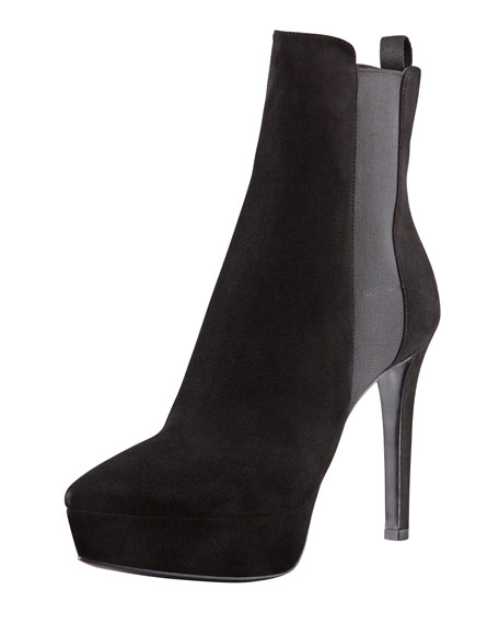 Pointed-Toe Platform Ankle Bootie, Black
