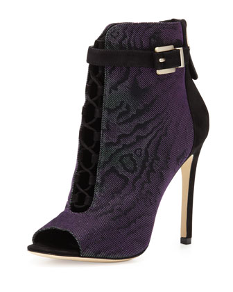 Lindford Peep-Toe Bootie, Purple/Green