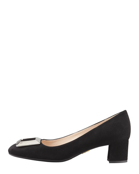 Suede Mid-Heel Buckle Pump, Black