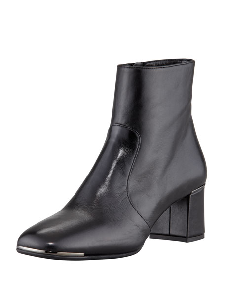 Mid-Heel Ankle Boot, Black