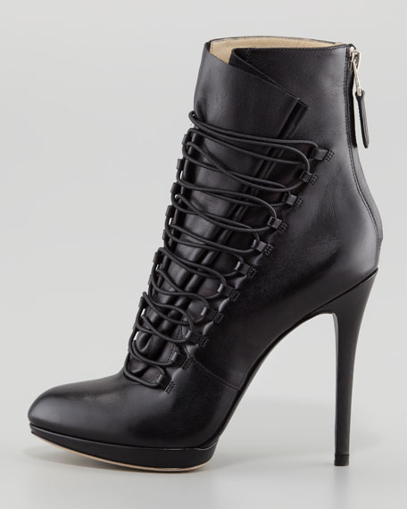Foggla Lace-Up Leather Bootie, Black