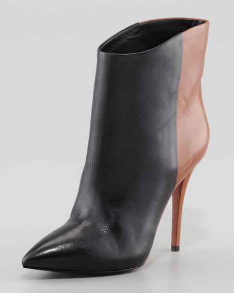 Djuna Two-Tone Leather Bootie, Black/Walnut