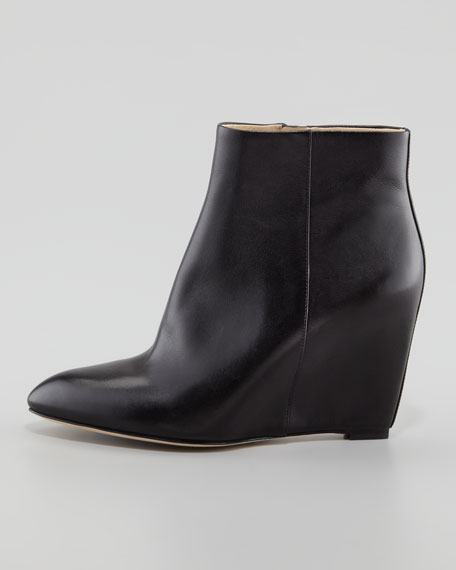 Bellaria Leather Wedge Bootie, Black