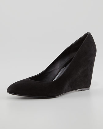 Bejo Point-Toe Suede Wedge, Black