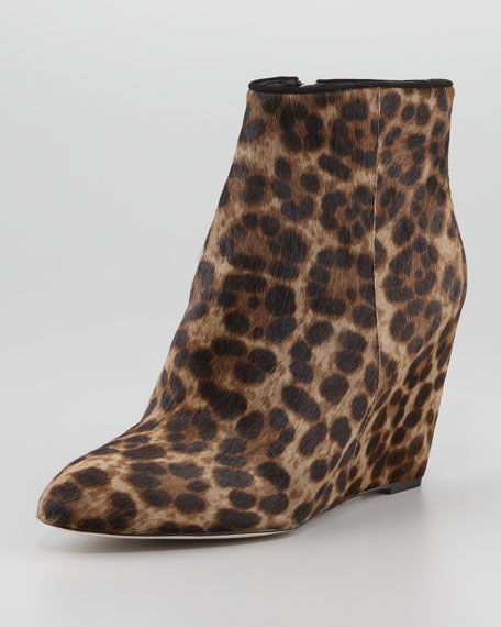 Bellaria Calf Hair Wedge Bootie, Taupe Leopard
