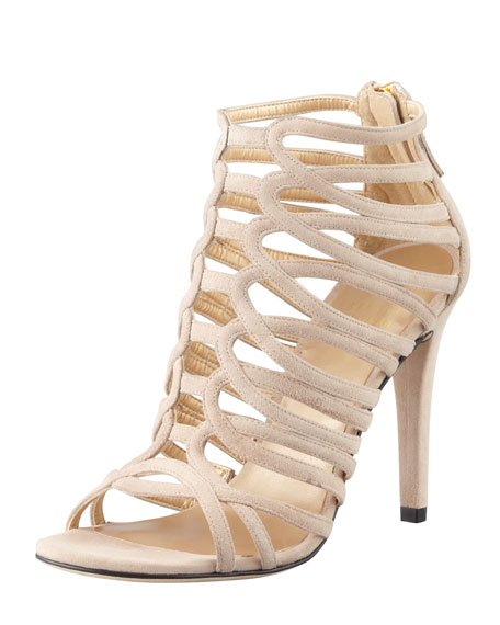 Loops Strappy Suede Sandal, Beige