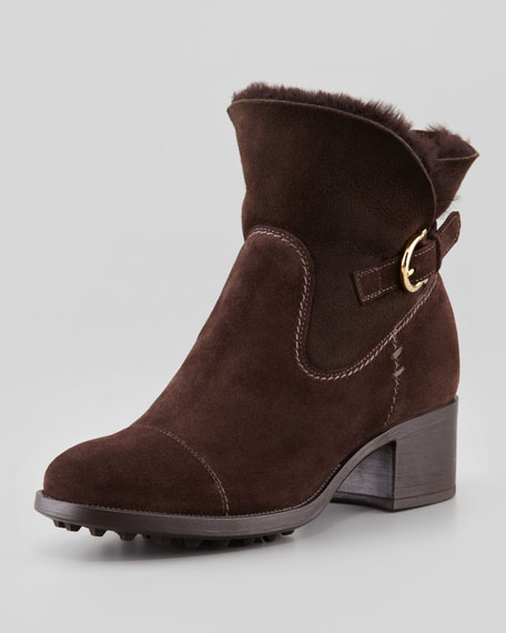 Rousseau Fur-Lined Suede Bootie, Brown