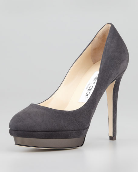 Talent Suede Platform Pump, Smoke