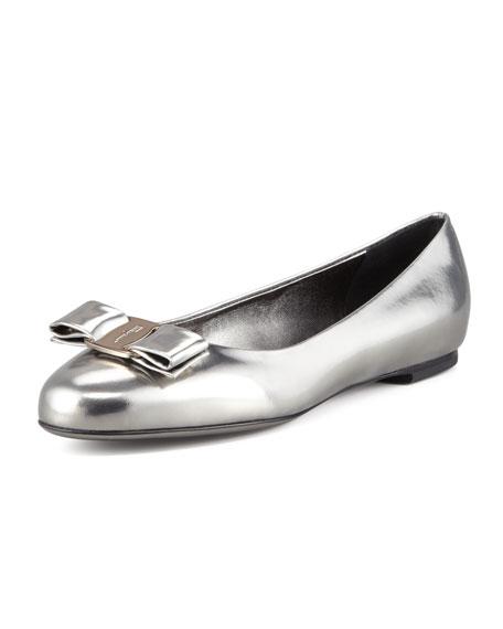 Varina Metallic Leather Ballerina Flat, Dark Silver