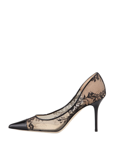 Alias Lace Pointed-Toe Pump, Black