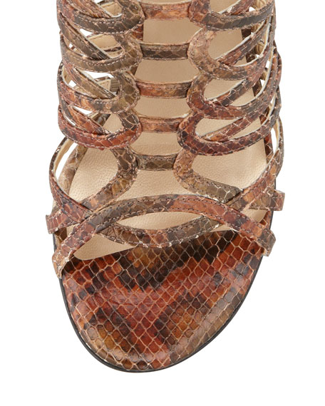 Loops Strappy Python-Embossed Leather Sandal