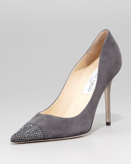 Jimmy Choo Amika Pointed-Toe Pump, Smoke