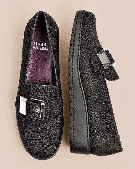 Metallica Saffiano Leather Loafer, Black