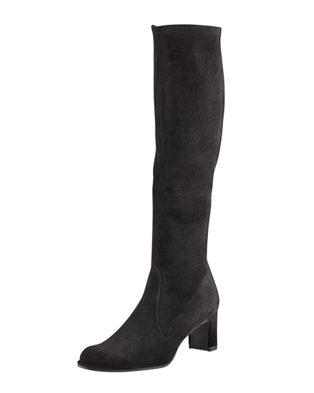Stuart Weitzman Chicboot Stretch Suede Knee Boot, Black