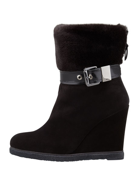 Further Faux-Shearling-Lined Suede Wedge