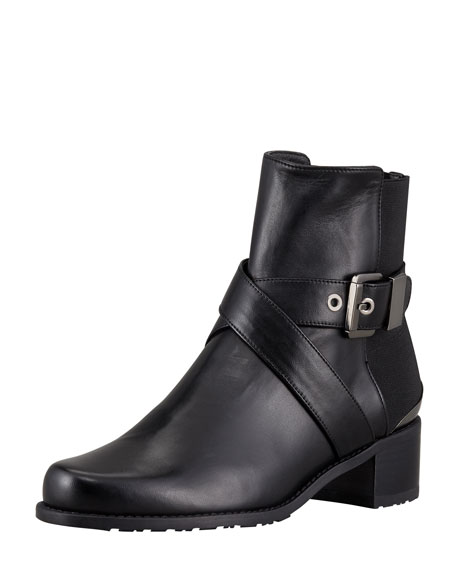 Manlow Stretch-Back Buckled Ankle Bootie