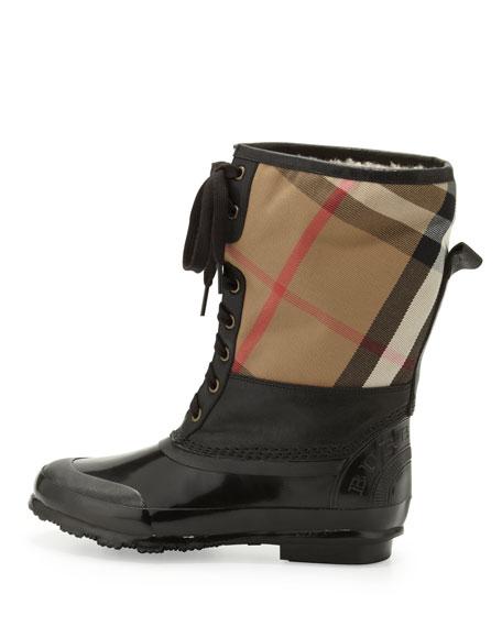 Check Cold Weather Fur-Cuff Boot, Black
