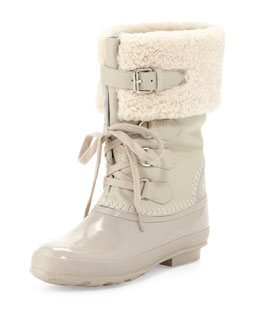 Burberry Cold-Weather Mid-Buckle Boot, White
