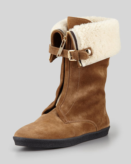 Shearling-Lined Zip-Front Boot, Dark Brown
