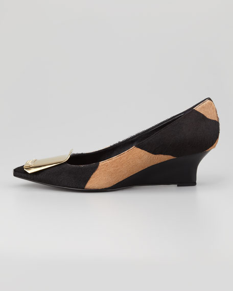 Buckle-Toe Calf Hair Wedge  Pump