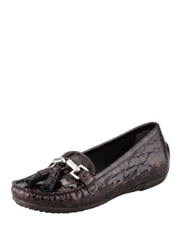 Stuart Weitzman Rascal Patent Crocodile-Embossed Tassel Loafer, Brown