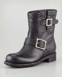 Jimmy Choo Youth Buckled Biker Boot, Black