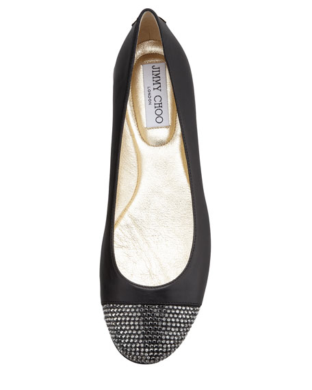 Wrena Crystal-Toe Ballerina Flat, Black/Anthracite