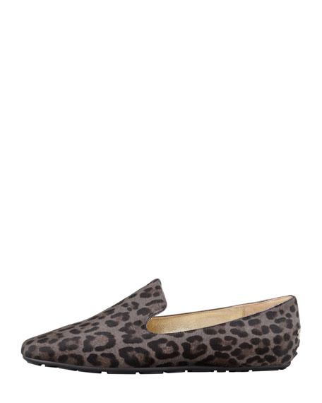 Wheel Leopard-Print Calf Hair Loafer