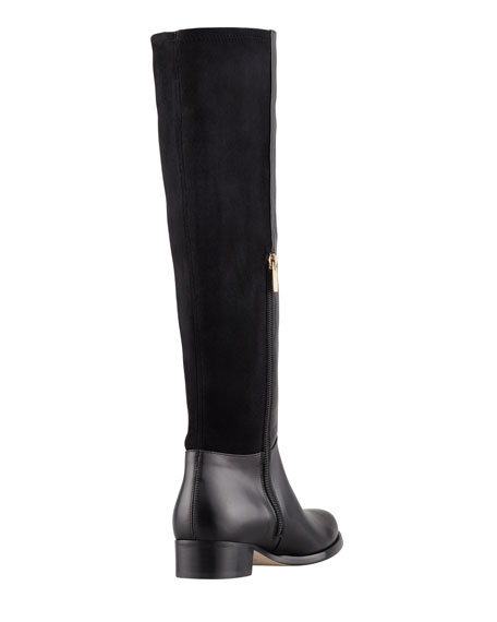 Brava Fitted Stretch Leather Knee Boot, Black