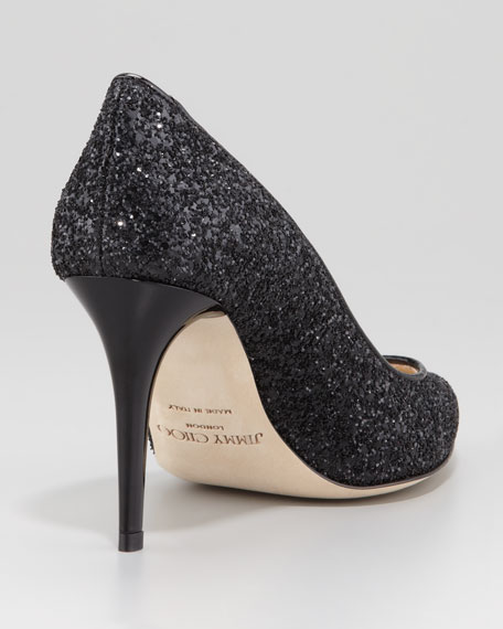 Victory Glitter Fabric Pump, Black