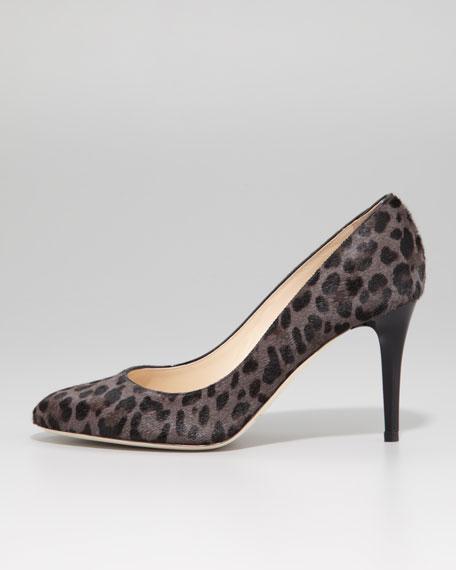 Victory Leopard-Print Calf Hair Pump, Smoke/Black