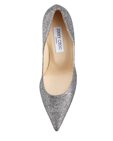 Abel Glitter Pointed Pump, Anthracite