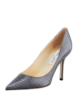 Jimmy Choo Agnes Snake Pointed-Toe Pump, Smoke