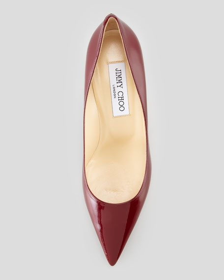 Aurora Pointed-Toe Patent Pump, Claret