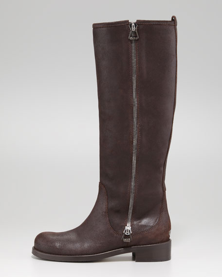Doreen Rugged Leather Zip Knee Boot, Brown