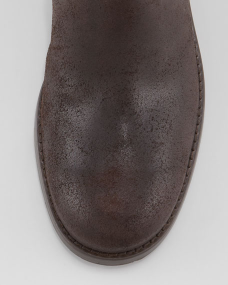 Doreen Rugged Leather Zip Knee Boot, Brown