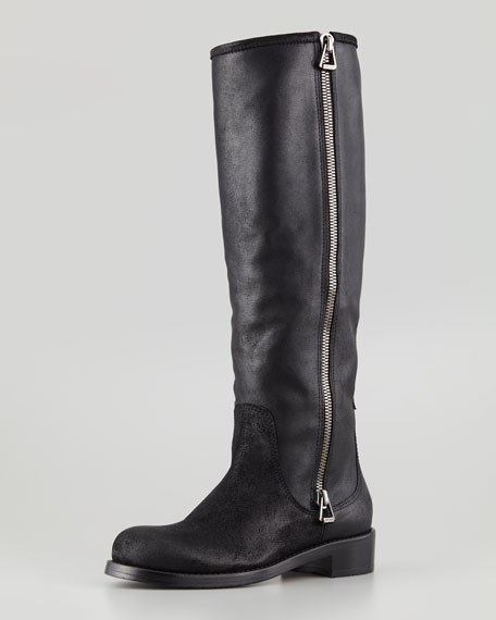 Doreen Rugged Leather Knee Boot, Black