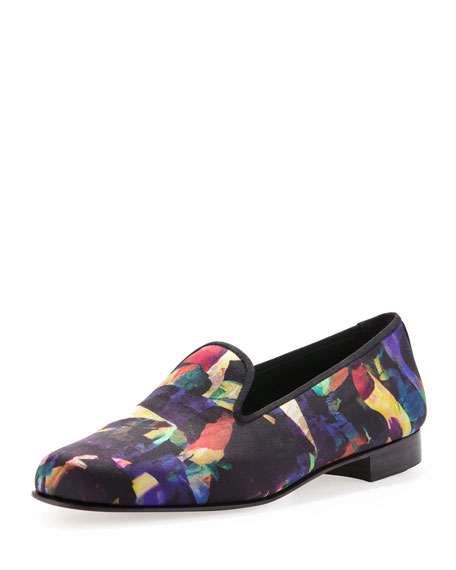 Penelope Chilvers Saloni Satin Smoking Slipper, Dahlia