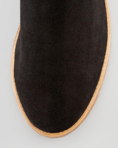 Safari Suede Metallic-Gore Short Boot, Black