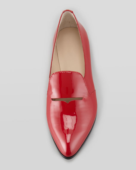 Aly Patent Pointed-Toe Loafer, Red