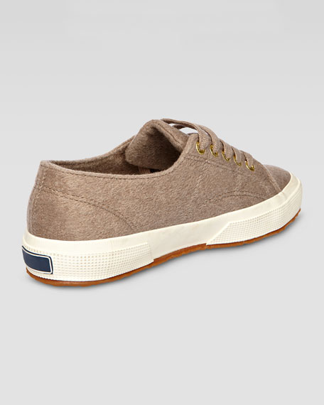 Low-Top Cashmere Lace-Up Sneaker, Oatmeal