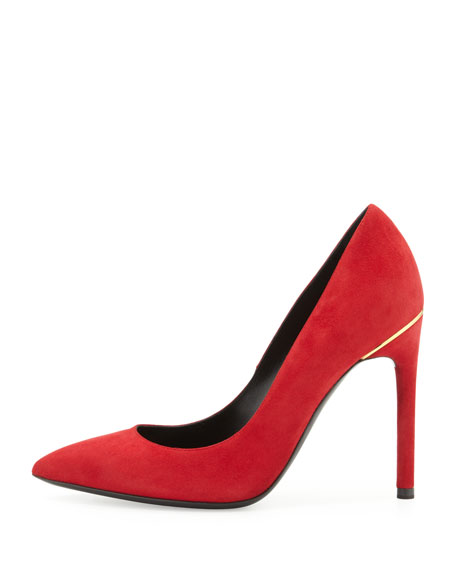 Suede Pointed-Toe Signature Pump, Scarlet