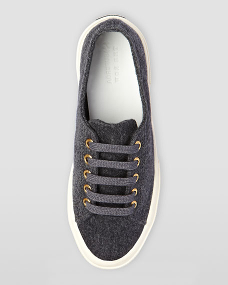 Low-Top Cashmere Lace-Up Sneaker, Charcoal