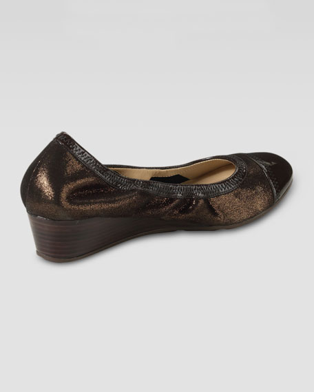 Milly Metallic Wedge Ballerina, Copper Metallic/Chestnut