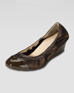Cole Haan Milly Metallic Wedge Ballerina, Copper Metallic/Chestnut
