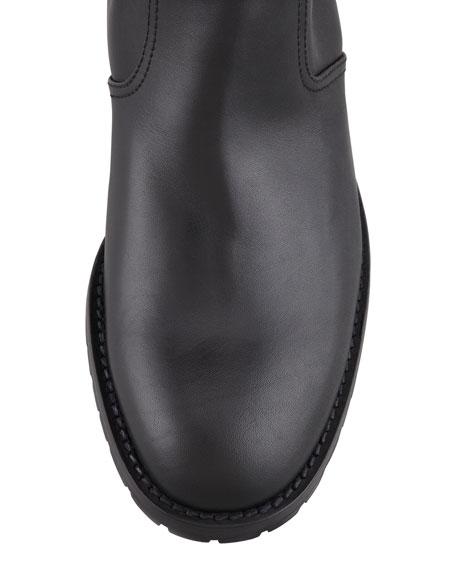 Ermebor Studded Leather Mid-Calf Boot, Black